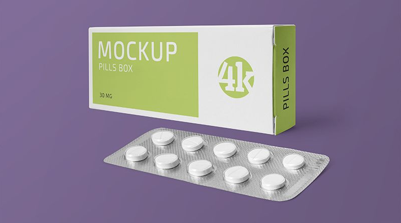 Paper Box and Tablets Blister Free Mockup