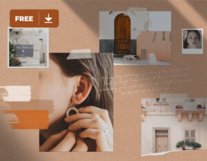 Paper Moodboard with Shadows Free Mockup