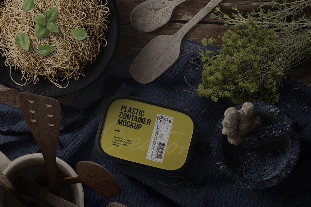 Plastic Container – Kitchenware Scene Free Mockup