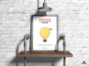 Poster Frame on Seamless Wood Free Mockup