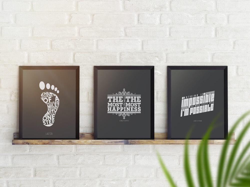 Posters on Shelf Free Mockup