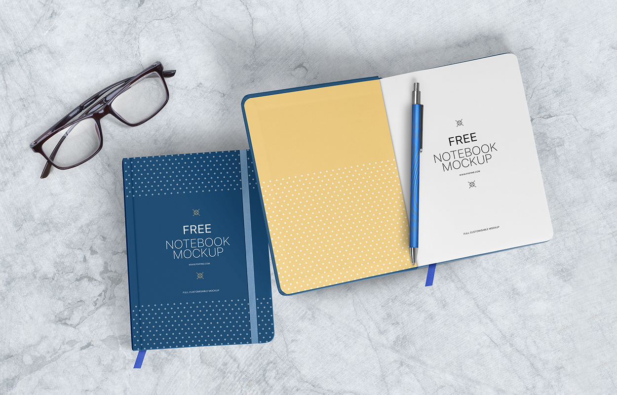Realistic Notebook Scene Free Mockup