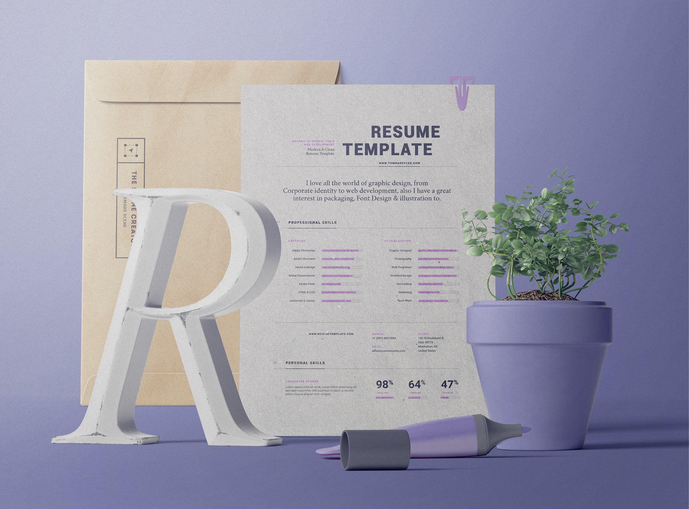 Resume with Envelope Scene Creator Free Mockup