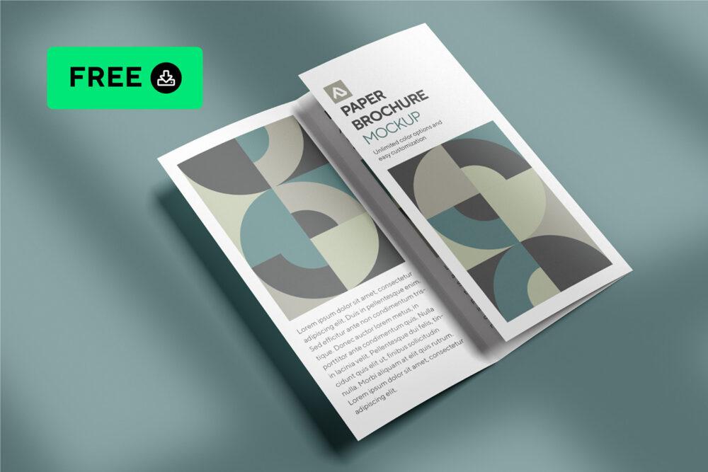 Simple TriFold Brochure Free Mockup (PSD)