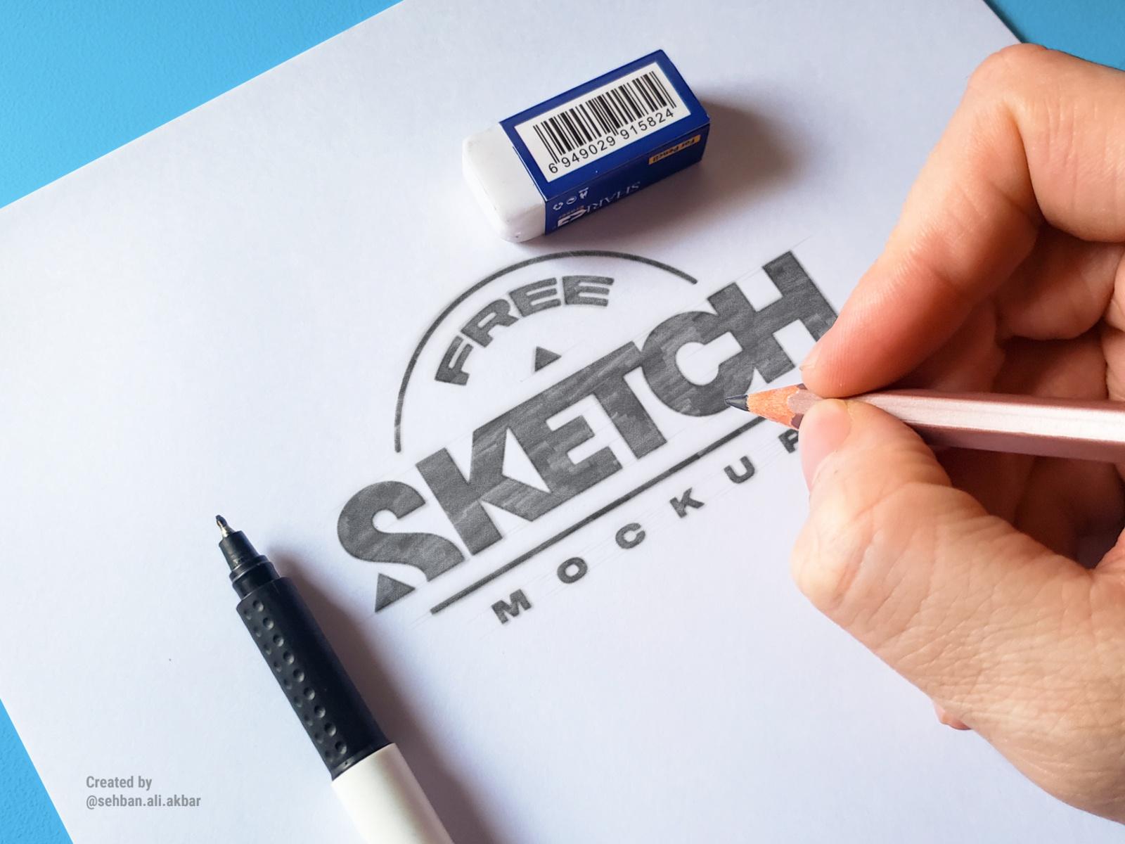 Sketch Drawing Free Mockup Set