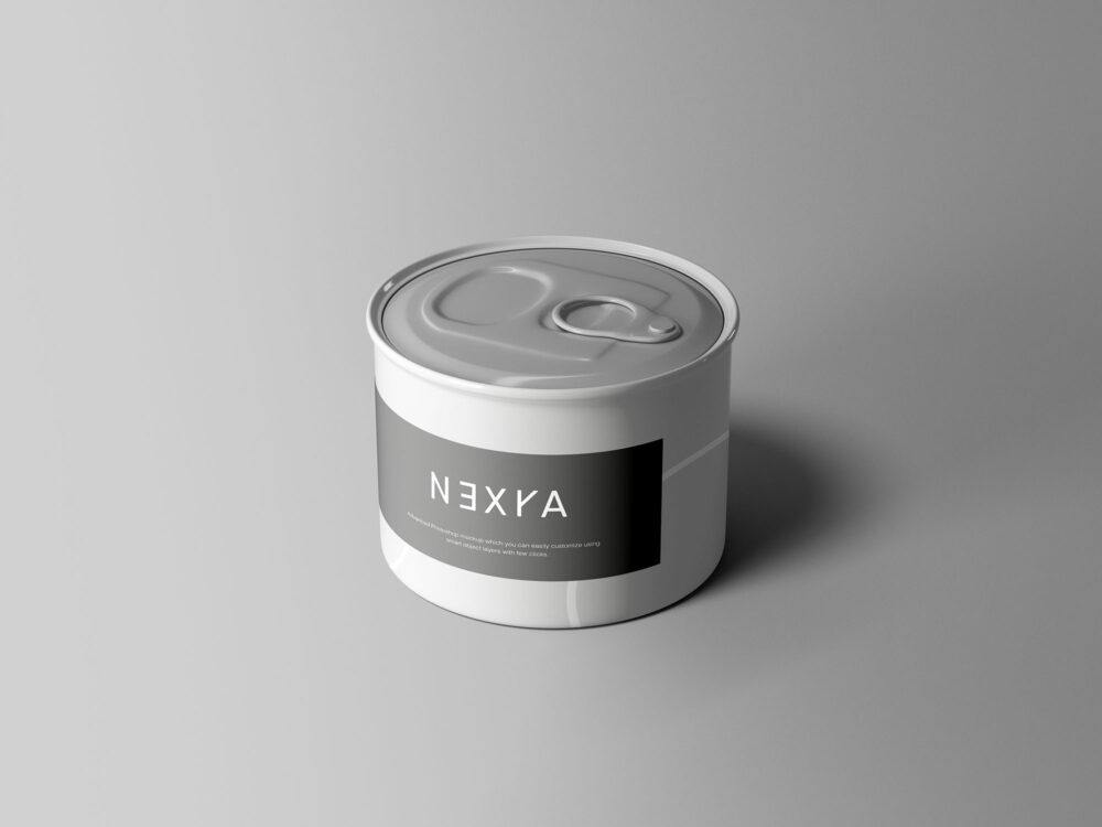 Small Tin Can Free Mockup (PSD)