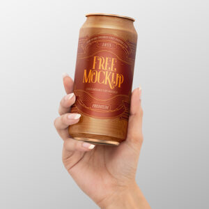 Soda Can in Hand Free Mockup