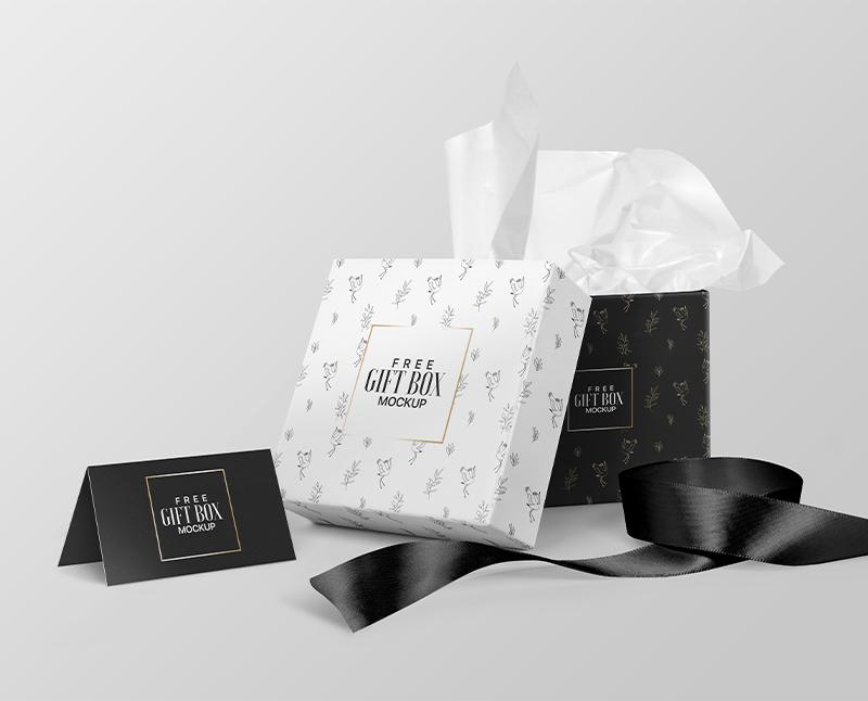 Square Gift Box Freebie Mockup