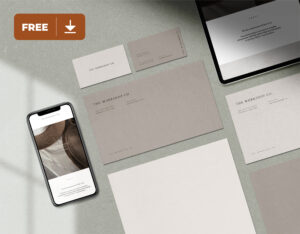 Stationery with iPhone and iPad Free Mockup
