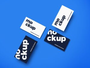 Top View Business Cards Free Mockup