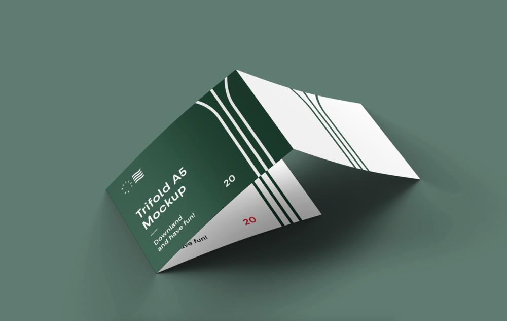 Tri-Fold Horizontal Brochure Free Mockup