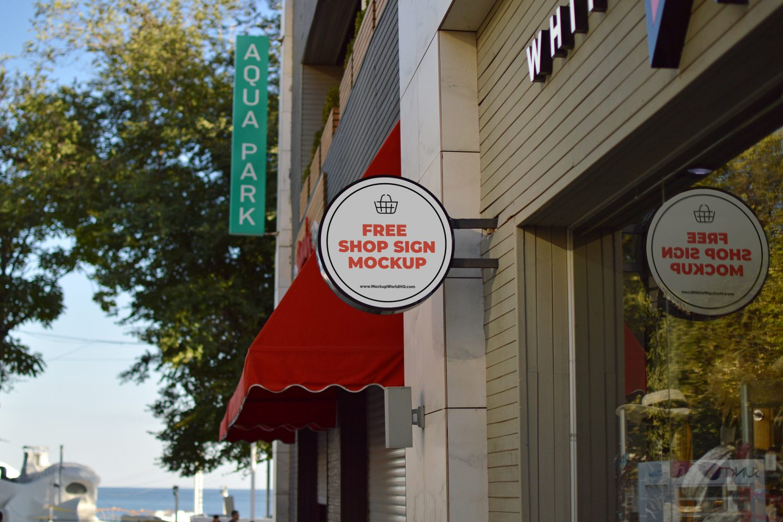 Wall Shop Sign Freebie Mockup (PSD)