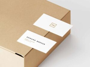 Free Business Card On Box Mockup
