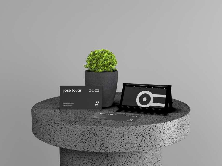 Free Business Card Stand Mockup