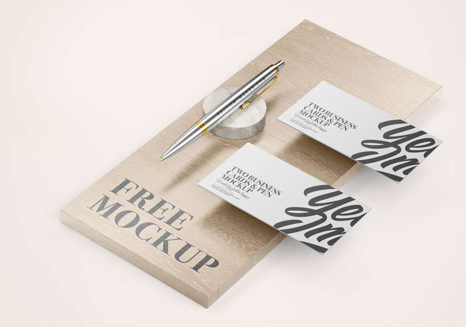 Free Business Cards & Pen Mockup