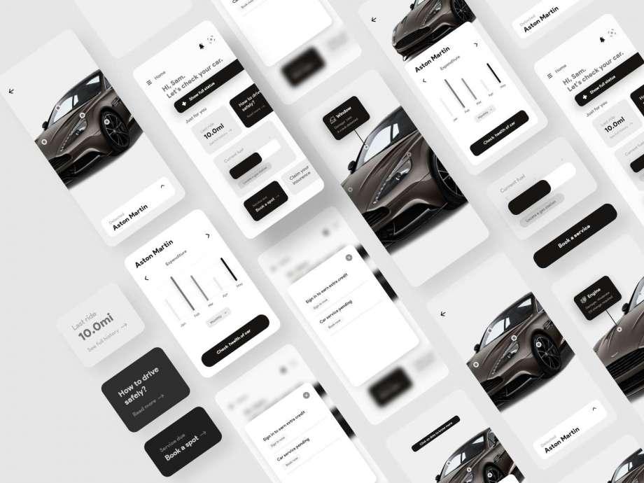 Free Car-D. Mobile App UI Design (XD)