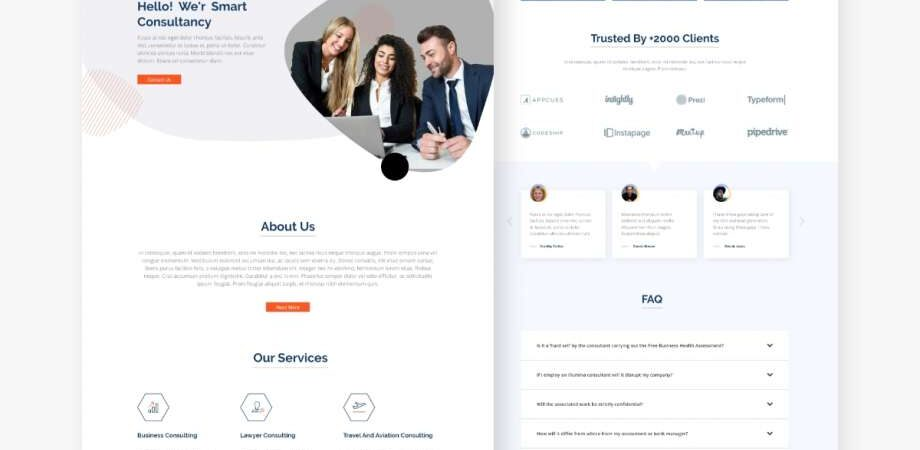Free Consultant Landing Page (XD)