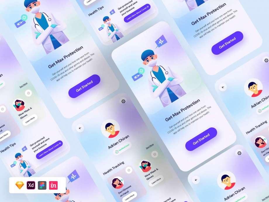 Free Covid 19 App UI Kit Concept