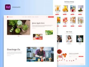 Free Delicious Drinks Landing Page (XD)