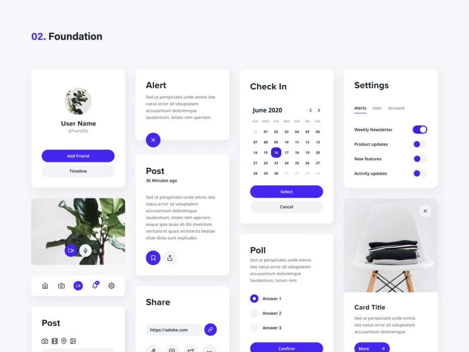 Free Dynamic UI Kits Components & Cards (XD)