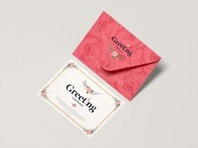 Free Envelope With Greeting Card Mockup