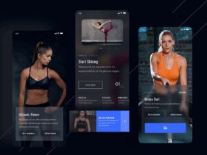 Free Fitness App Dark Theme UI Kit