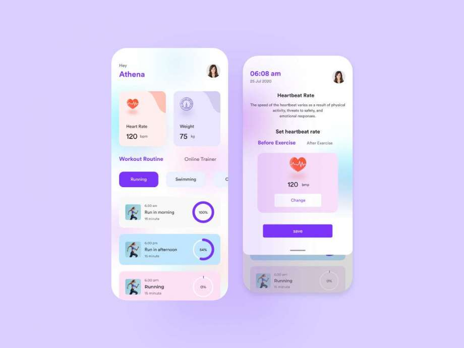 Free Fitness App Design UI Kit (XD)