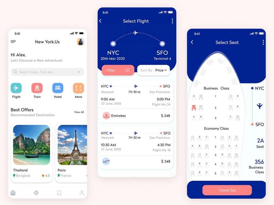 Free Flight Booking App UI (PSD)