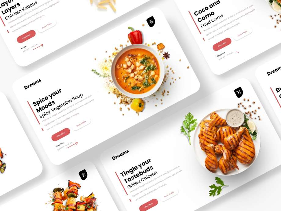 Free Food Website Headers UI Kits (XD)