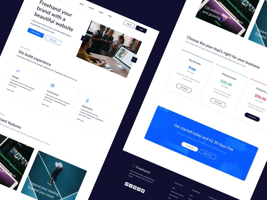 Free Freehand Creative Agency Landing Page