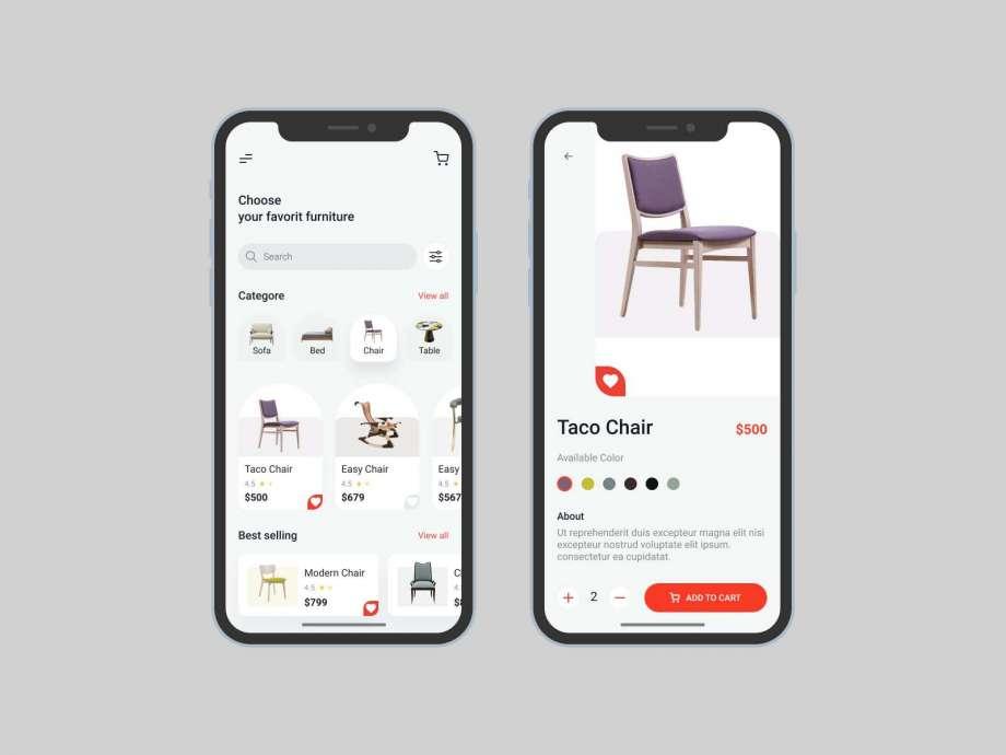 Free Furniture Store APP UI Kit Concept