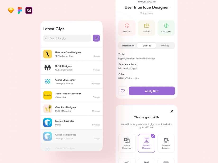 Free Gigson Job App UI Kit Template