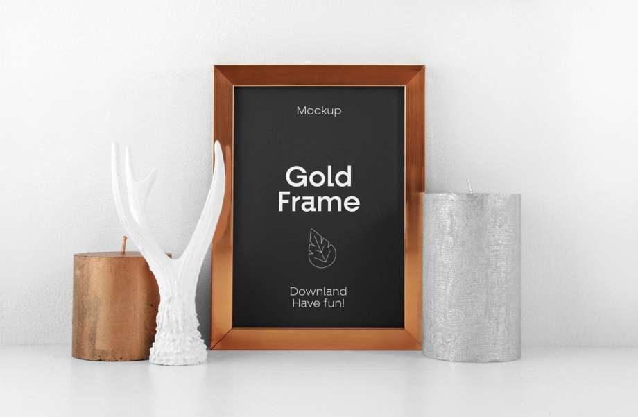 Free Gold Frame Poster Mockup