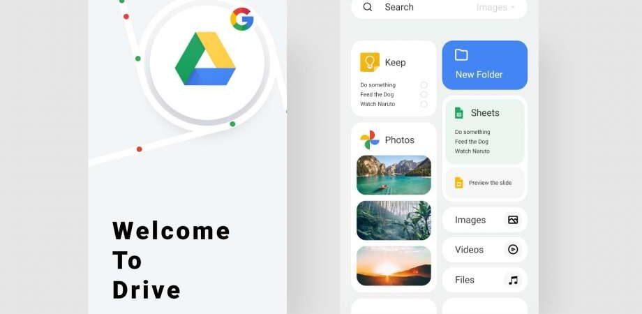 Free Google Drive Redesign UI Kit