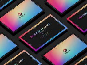 Free Grid Business Card Mockup