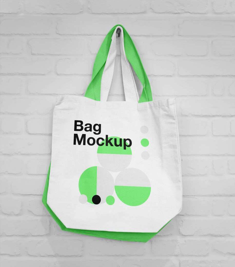 Free Hanging Canvas Bag Mockup