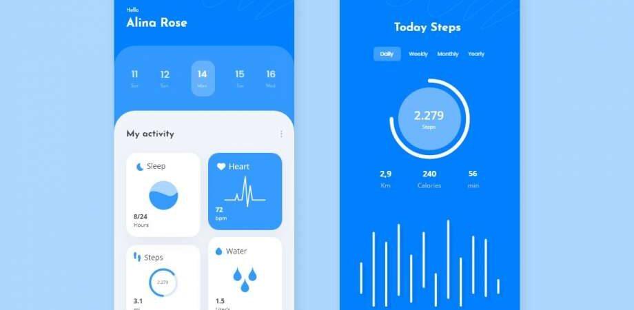 Free Health Activity Tracker APP UI Kit