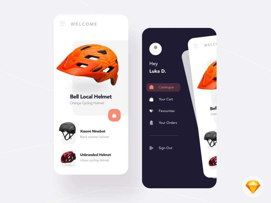 Free Helmet Shopping App UI Kit