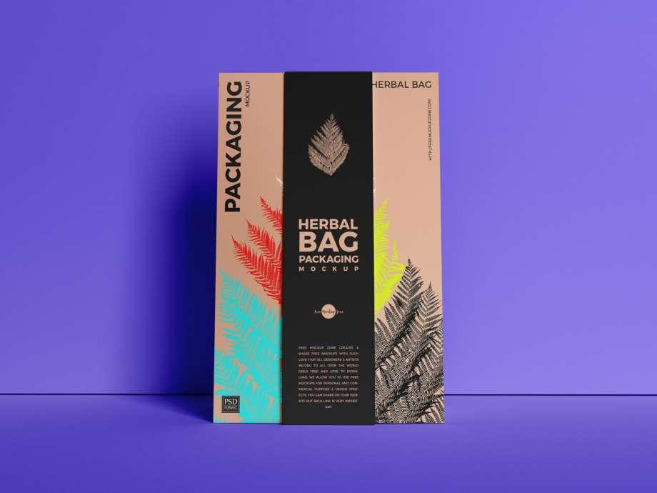 Free Herbal Bag Packaging Mockup