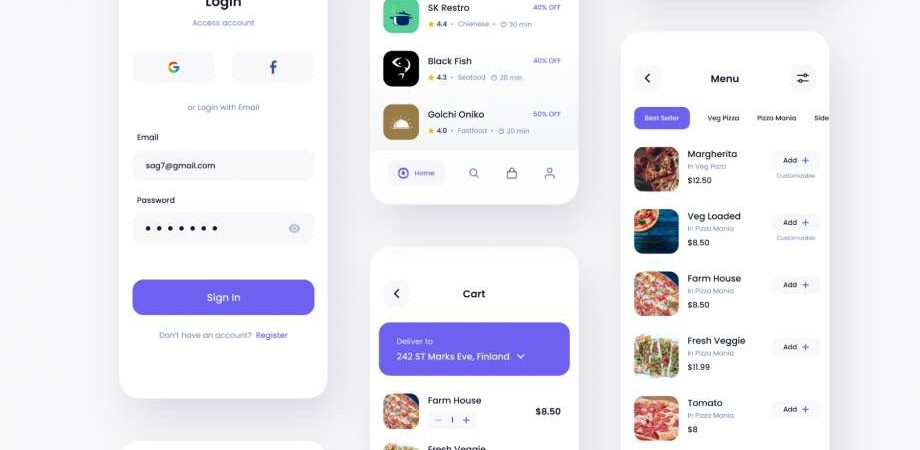 Free Hungger Food Delivery App UI Kit