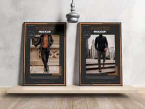Free Interior Framed Posters Mockup