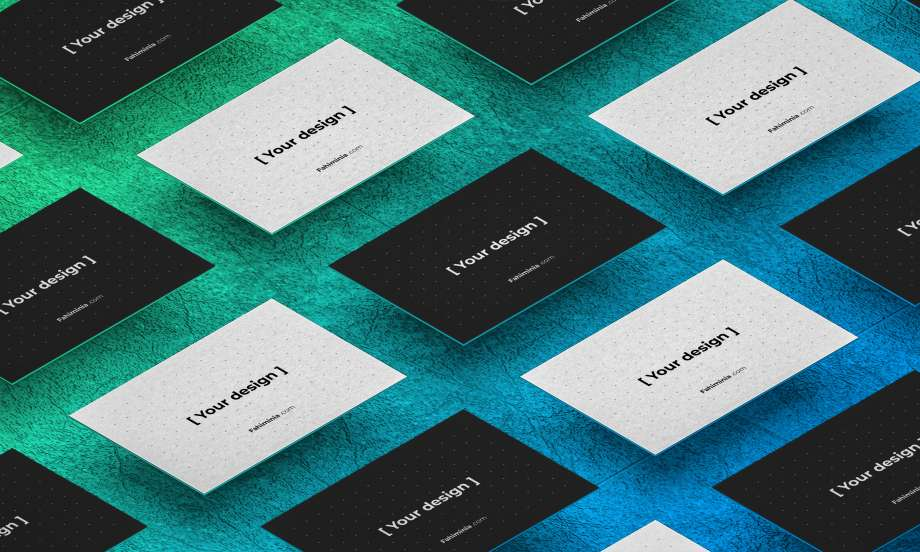 Free Isometric Business Card Mockup