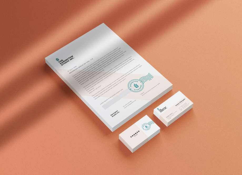 Free Isometric Stacked Stationery Mockup