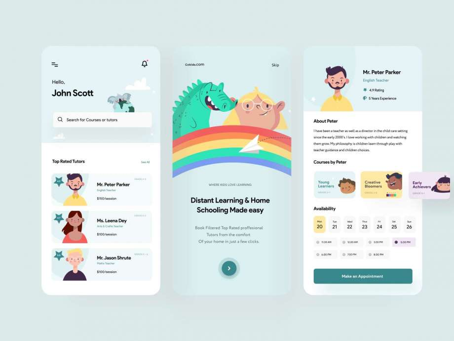 Free Kids Educational Platform APP UI Kit