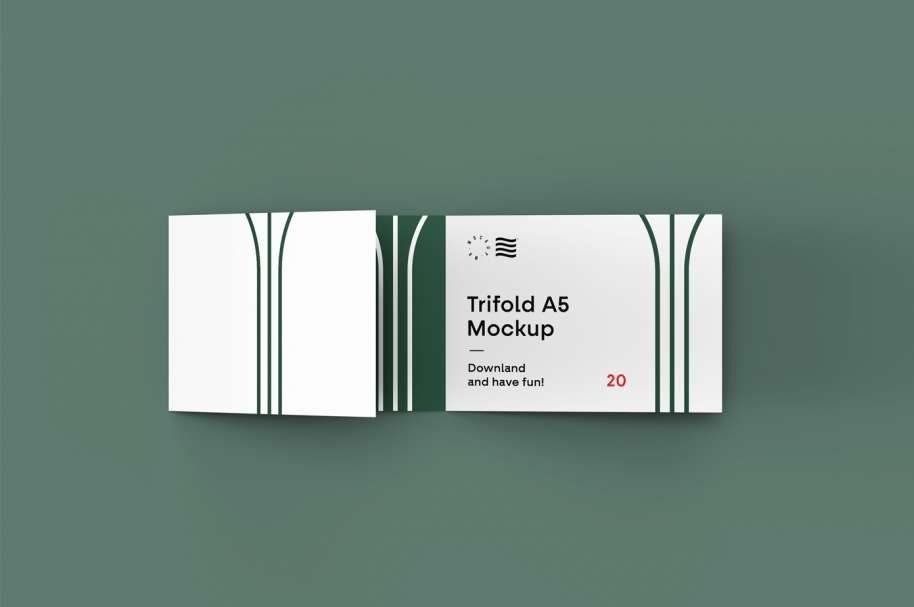 Free Landscape Trifold Brochure Mockup
