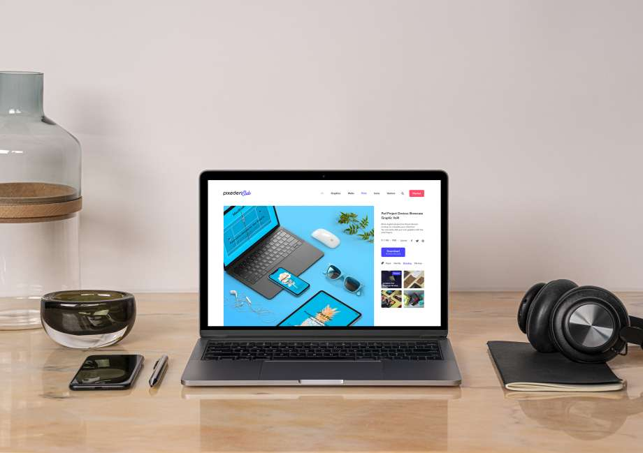 Free MacBook Pro on Desk Mockup