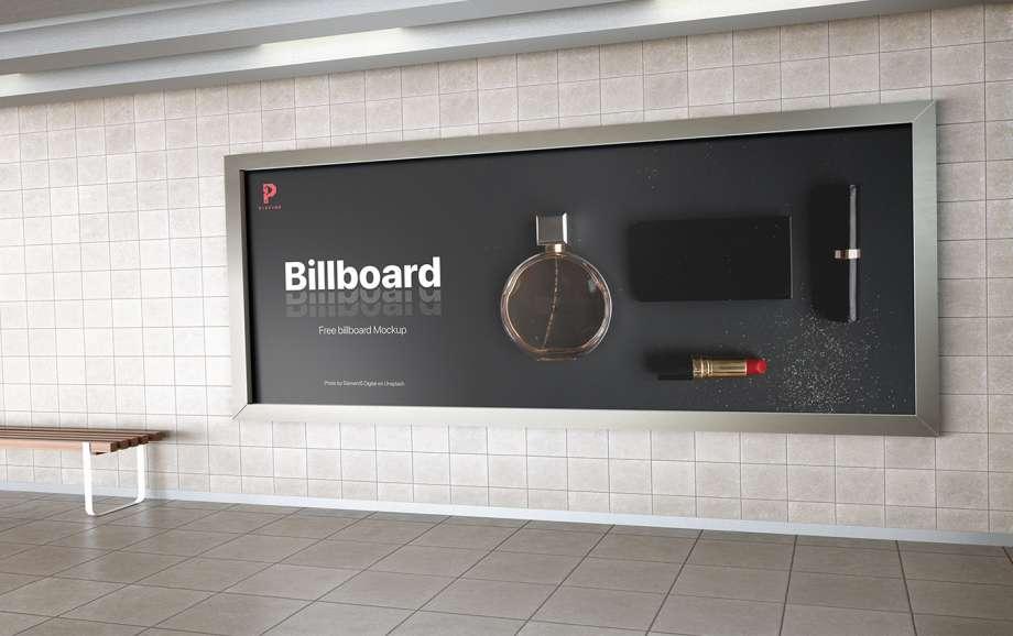 Free Metro Station Billboard Mockup