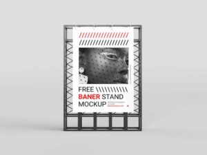Free Minimal Banner Stand Mockup