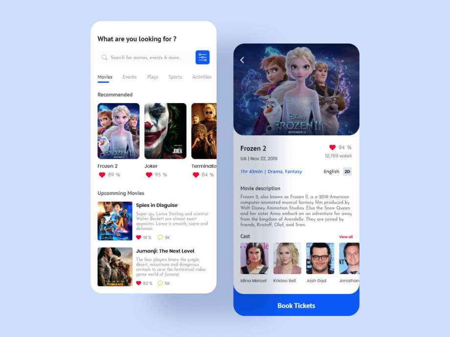 Free Movie App UI Kit (XD)