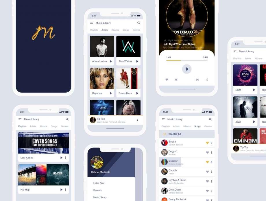 Free Music Application UI Kit Design